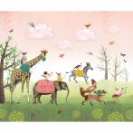 Mural Dierenparade roze 340x270